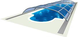 Schema einer elektrisch schiebbaren Poolüberdachung