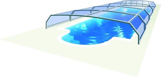 Schematische Darstellung einer Pool Schiebe Überdachung