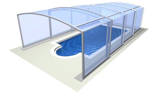 scheamtische Darstellung einer sehr hohen Pool Überdachung
