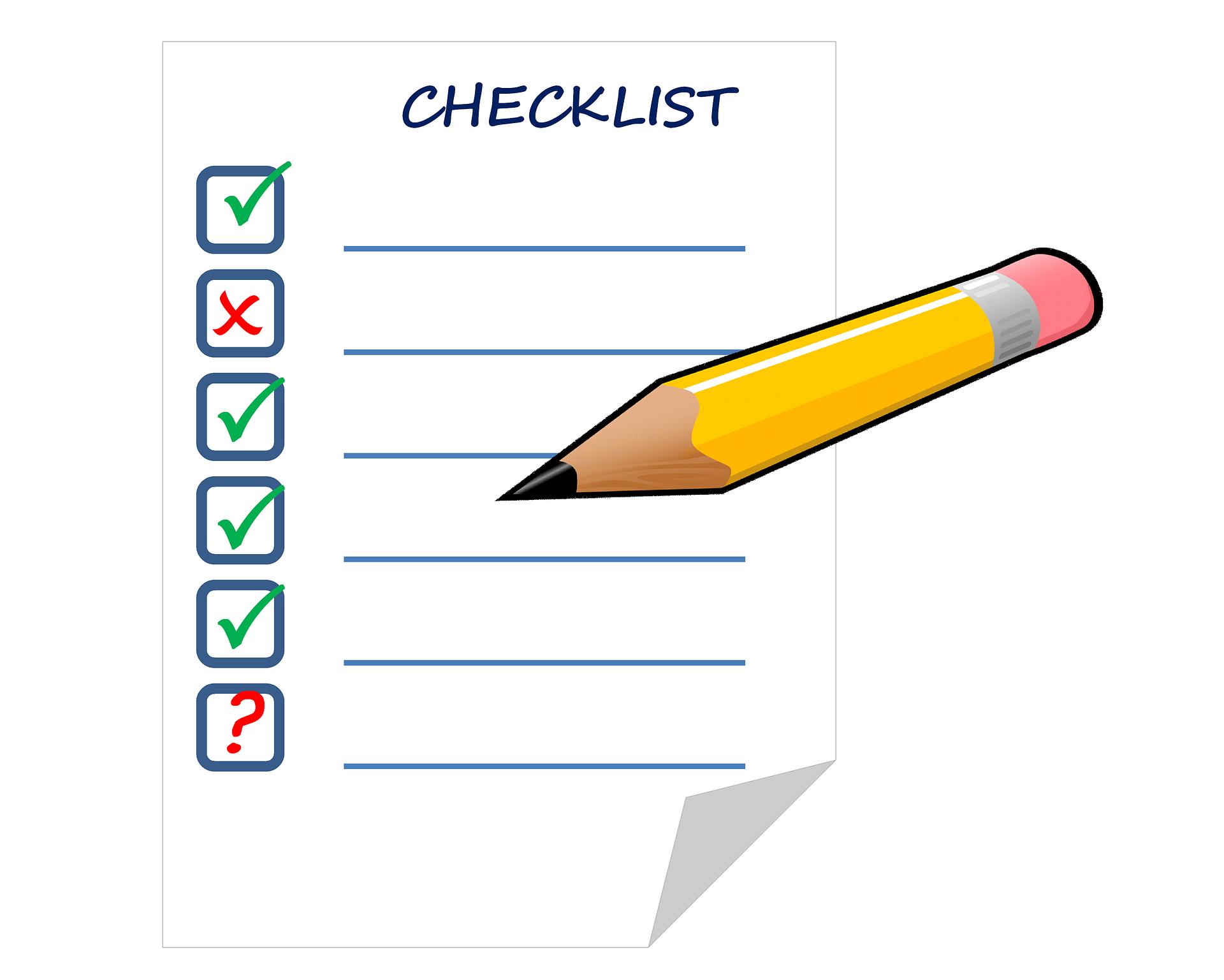 das Bild zeigt eine Graphik als Checkliste