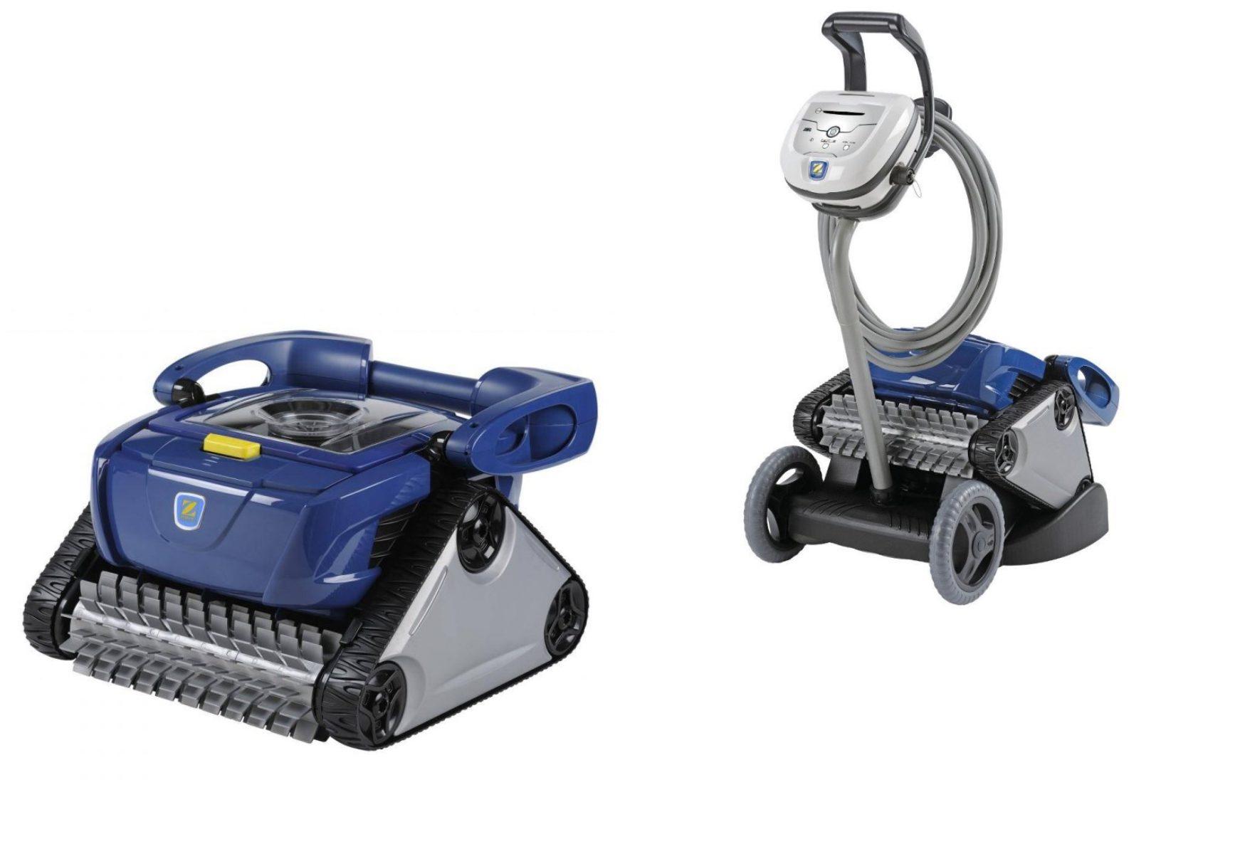 das Bild zeigt den RC 4400 CyclonX Pro, Push'n Go Poolroboter mit und ohne Caddy